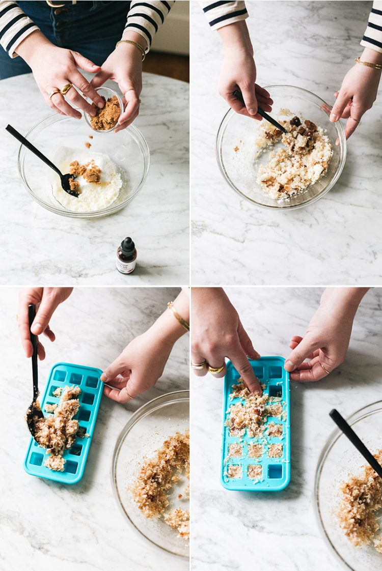 Up your at-home spa game with these easy sugar scrub cubes infused with essential oil. Get the full tutorial at Jojotastic.com #diy #sugarscrub #essentialoils #sandalwood #sugarcube #wellness #selfcare #cleanbeauty #naturalbeauty