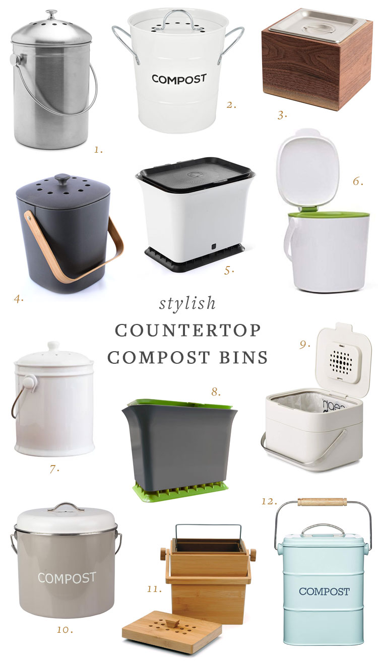 Stylish Countertop Compost Bins + Tips for Picking the Best Composter! #compost #zerowaste #minimalism #howtocompost #compostbin #kitchen
