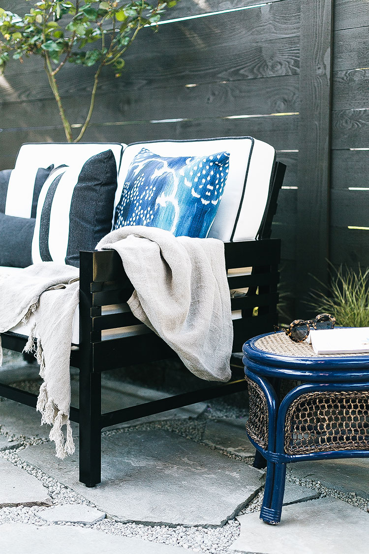 Chic and Affordable Outdoor Side Tables — all under $200! Plus tips on how to score outdoor furniture for your deck or patio on a budget. #outdoorfurniture #decoratingonabudget #deck #patio #sidetables #outdoorsidetables