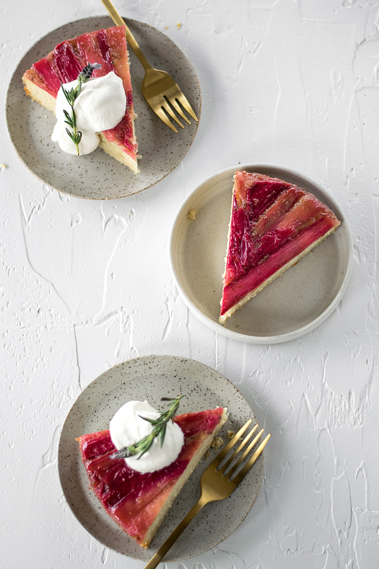 Lavender Rhubarb Upside-Down Cake recipe for Spring, Easter, brunch. #brunch #easter #spring #cake #upsidedowncake #rhubarb #dessert #lavender