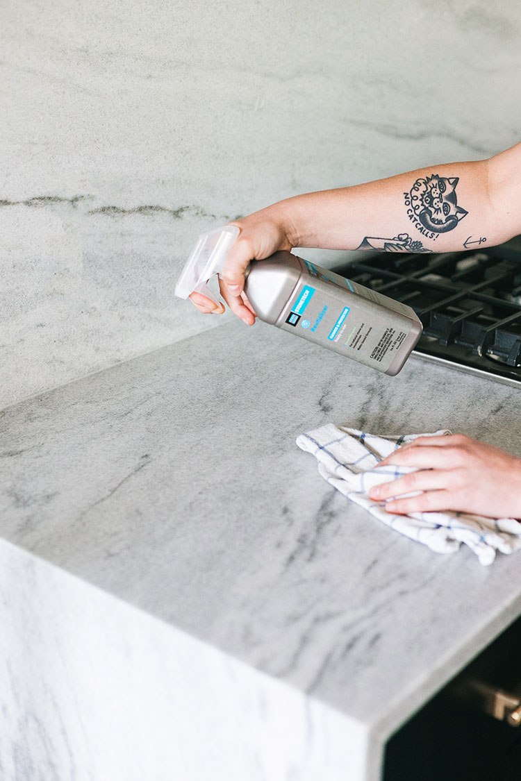 All About Our Polycor Marble Countertops & How to Care for Them! #polycor #marble #marblecountertops #marblebacksplash #backsplash #countertops #kitchenrenovation #howtocareformarble #fixerupper #ad