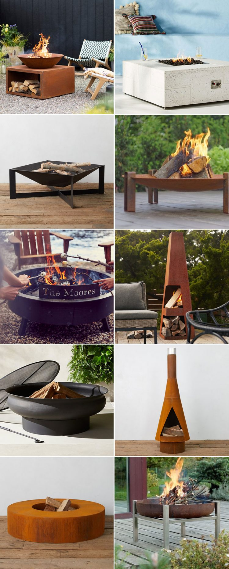 Modern Fire Pits To Complete Your Backyard Oasis! Get your patio, deck, or yard ready for summer entertaining with a modern fire pit. #outdoordecor #outdoorentertaining #firepit #modernfirepit