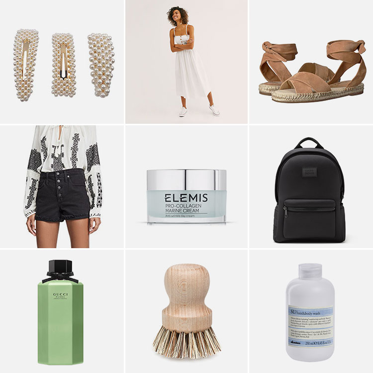9 things of note: Joanna's Favorite Things from June 2019. including Dagne Dover, Free People dress, Madewell cut off shorts, Elemis, Gucci, oversized hair clips and MORE! #thingsofnote #shopping #shoppingguide #musthaves
