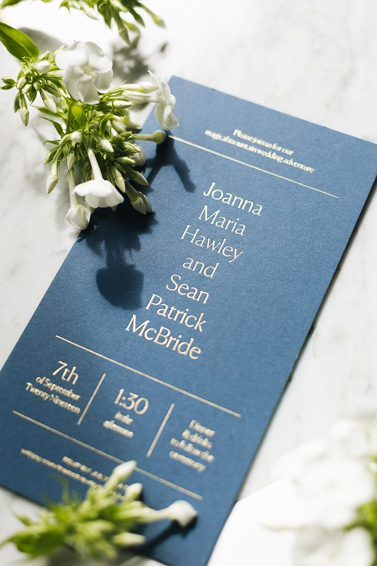 Our Wedding Invitations and Enclosure Card from Artifact Uprising + How We Personalized Them! @artifactuprsng #wedding #weddingplanning #nontraditionalwedding #modernwedding #weddingstationery #letterpress #goldfoil #weddinginvitation #enclosurecard #bluewedding #navywedding #goldwedding