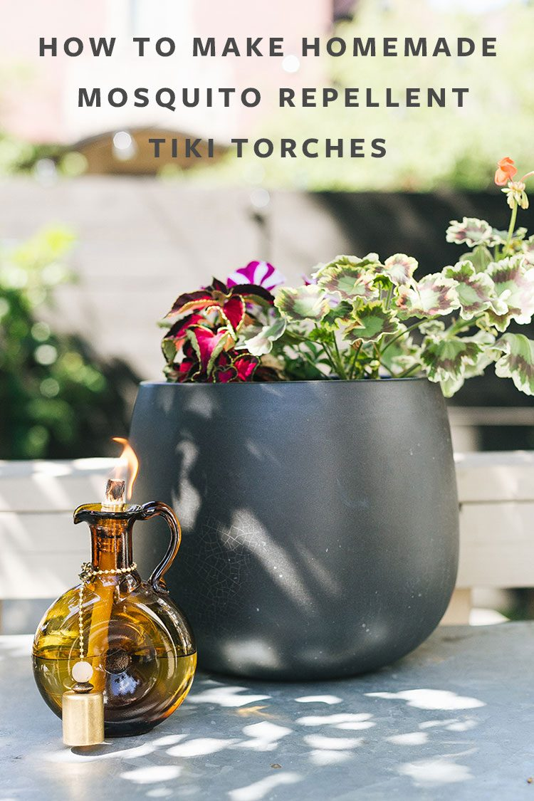 How to Make Homemade Mosquito Repellent Tiki Torches. Banish bugs and add chic decor to your outdoor area with these essential oil-infused tiki torches made from vintage glassware. Get the full tutorial at Jojotastic.com #diy #summer #patio #essentialoils #mosquitorepellent #homemadebugrepellent #tikitorch #summerDIY #outdoorentertaining