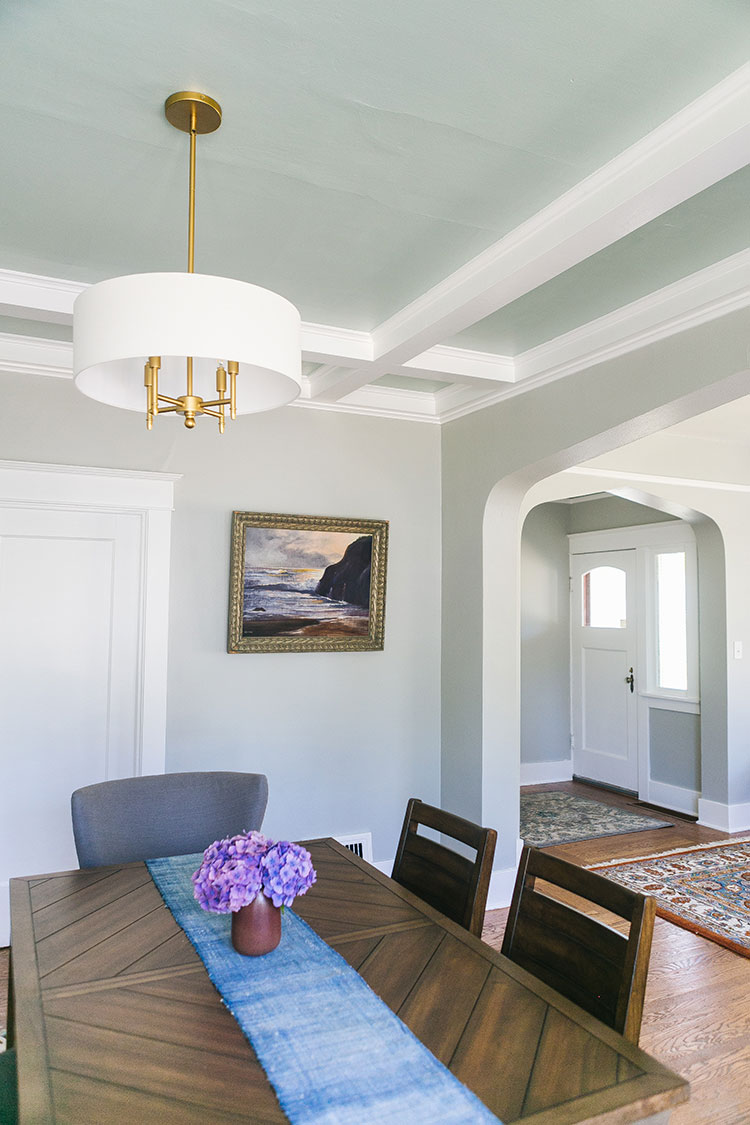 My Honest Review of Clare Paint + Our Accent Ceiling at The Craftsman House. @clare_paint A Modern Traditional Living & Dining Room Makeover. 55 designer curated paint colors, premium Zero VOC paint & the best painting supplies. #craftsman #livingroom #diningroom #interiordecor #interiordesign #moderntraditional #accentceiling #popcolor #paintedceiling #zeroVOCpaint