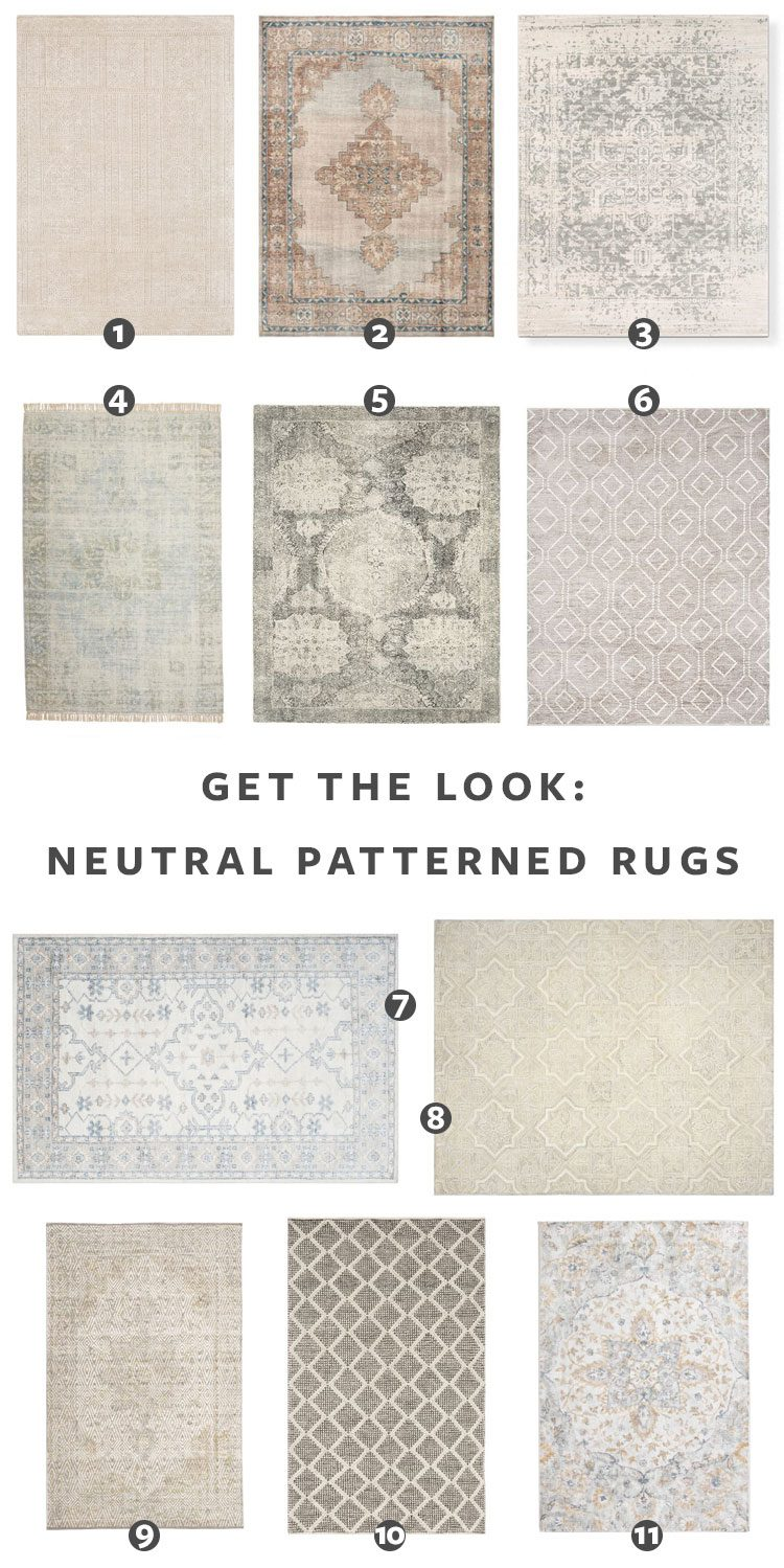 Looking for a neutral patterned rug? Check Out These Sources for the best vintage rugs and new vintage-inspired rugs in ivory, white, grey, and neutral color palette! #coral #turkishrug #vintagerug #vintageinspiredrug #bedroomrug #anatolian #oushak #oneofakindrug #neutralrug