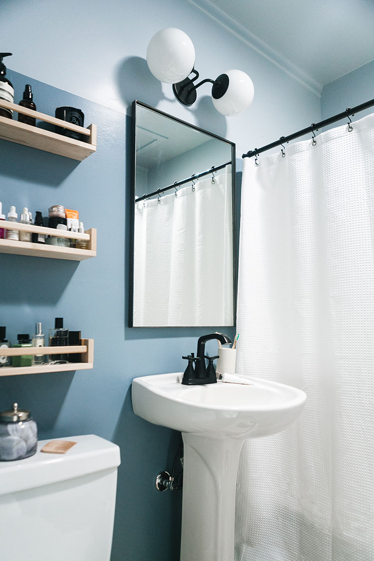 Our Tiny Bathroom Makeover With Colorblocked Walls Ceiling