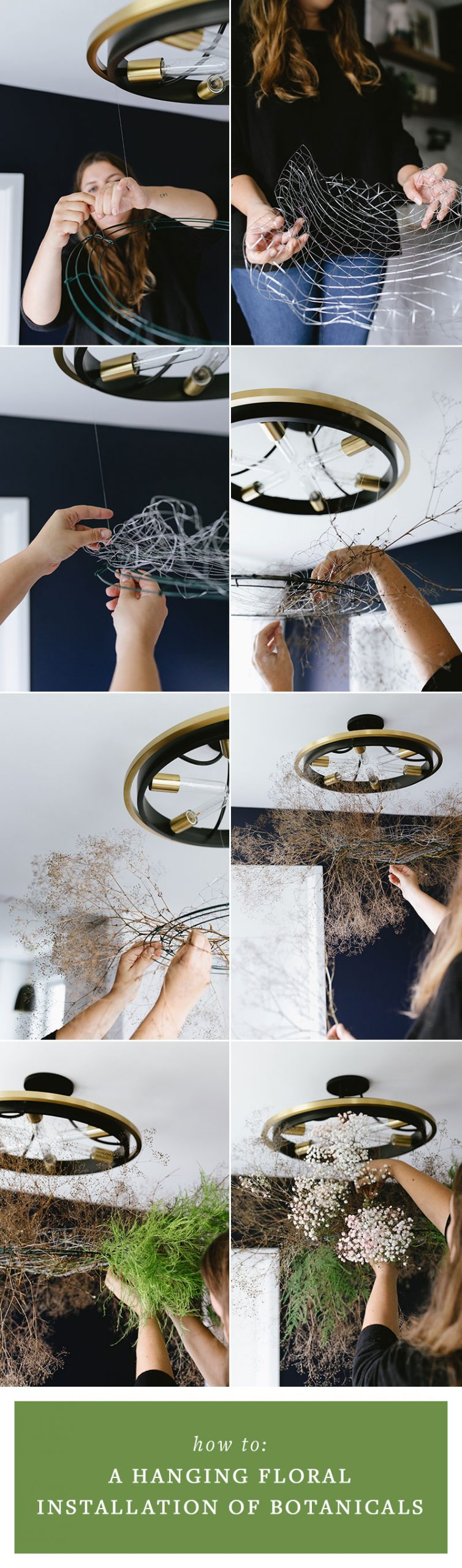 How to Create a Hanging Floral Installation with Dried Botanicals, the perfect modern centerpiece alternative to WOW Your Next Dinner Guests this fall, Halloween, and Thanksgiving. #DIY #tutorial #floralinstallation #hanginginstallation #hangingflorals #centerpiece #halloween #babysbreath #ferns #botanicals #driedflowers