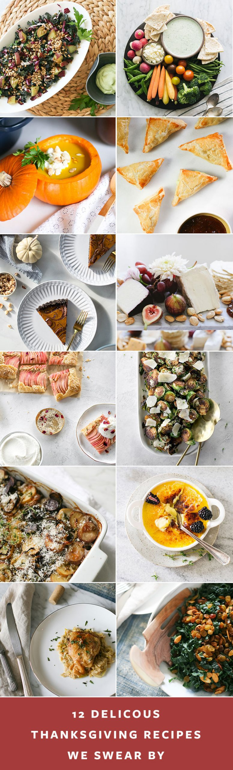 12 Delicious Thanksgiving Recipes We Swear By! Recipes including cheese board, potato gratin, winter kale salad, an apple galette, and more! #recipes #holidayrecipes #thanksgiving #holiday #holidayrecipes #christmas #thanksgiving #thanksgivingdinner #hanksgivingdinnerideas #turkeyrecipe #turkeydinner #sidedish #holidaydessert