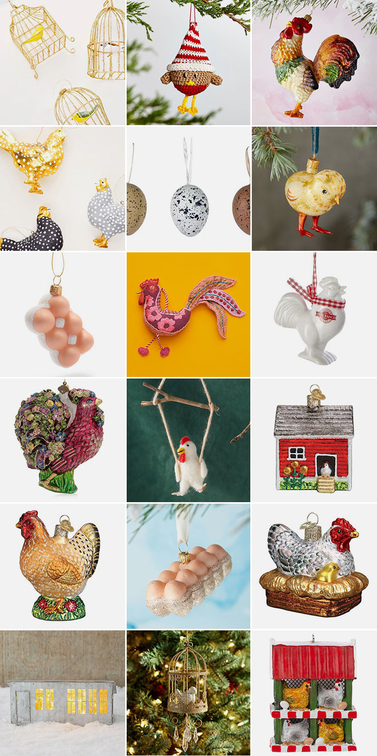 18 Chicken Ornaments I'm Adding to My Holiday Decor This Year! Christmas & Holiday decor 2019 via jojotastic.com #chickens #backyardchickens #chickenlady #fancychickens #eggs #christmasornaments #ornaments #chickenornaments