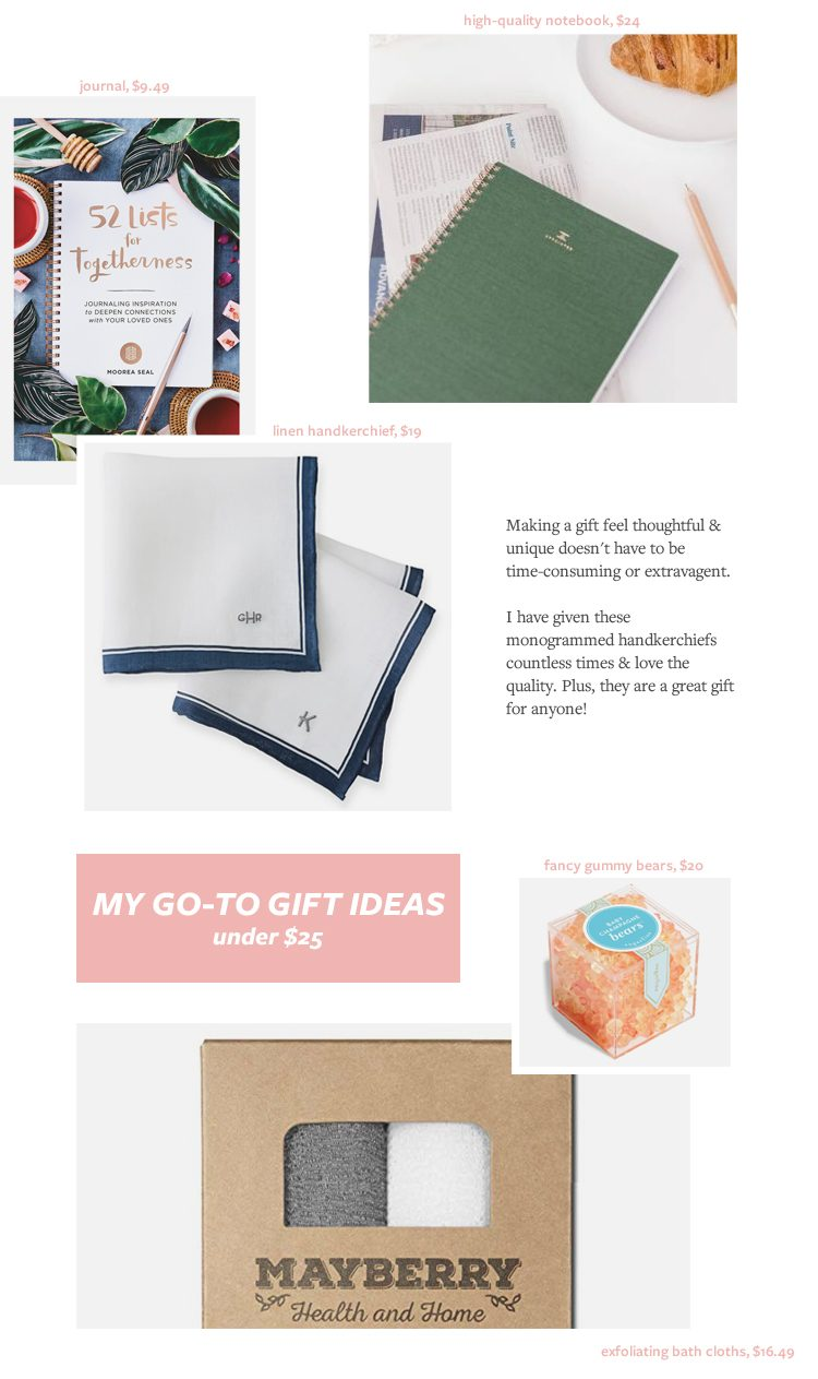 My Go-To Gifts for Pretty Much Anyone on Your List! Gift ideas under $25 and under $50 includes gift ideas for co-workers, teachers, family, and men. Gift Guide  for Christmas & Holidays 2019 via jojotastic.com #giftguide #giftidea #giftgiving #gifts #presents #christmaspresents #christmasgiftideas #christmasgift #gotogifts #easygiftideas