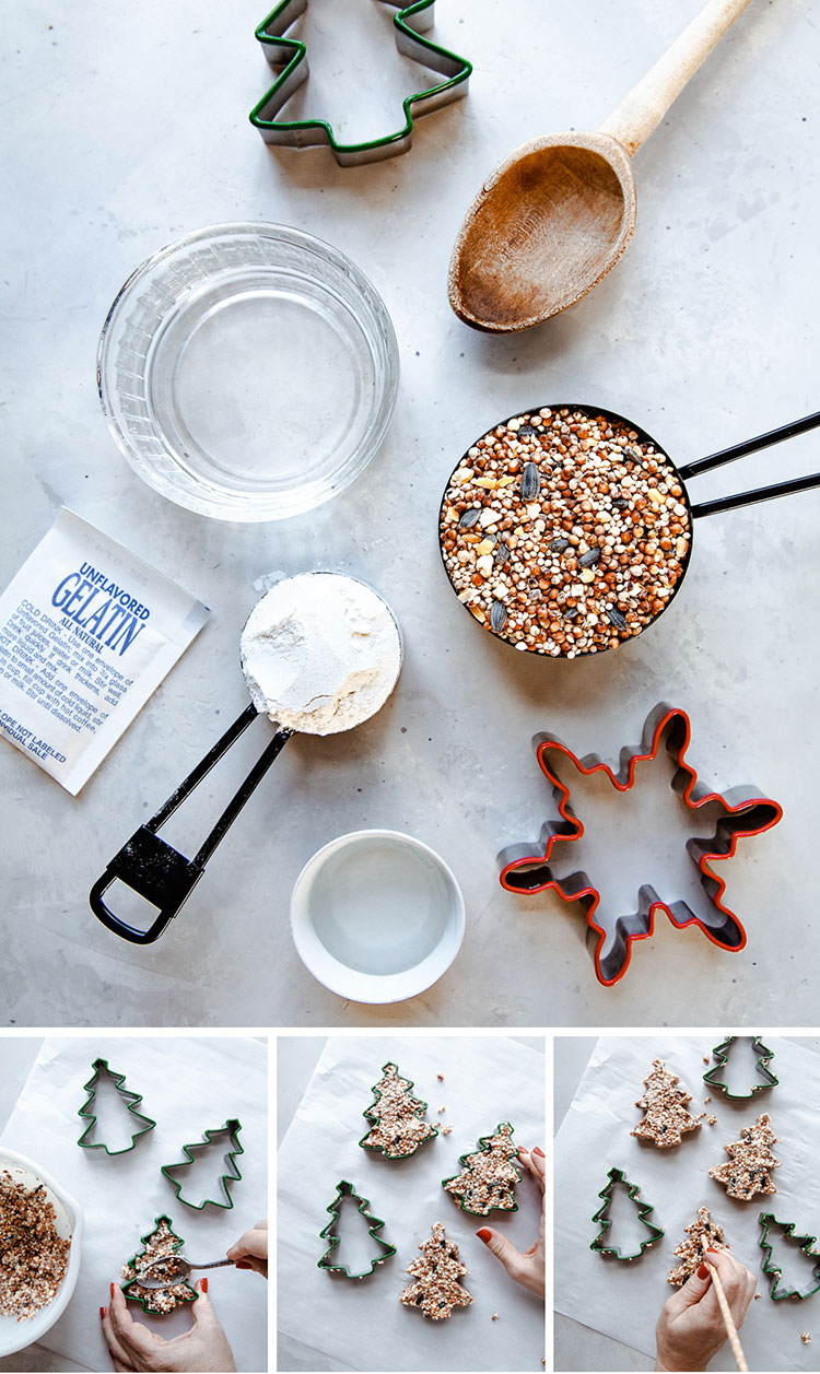 3 Ways to Make Eco-Friendly Holiday Decor with Birdseed. Kid-friendly craft tutorial. DIY birdseed ornament, garland, and swag. #DIY #crafts #kidscrafts #birdseed #birdseedornament #ornament #ornamentDIY #garland #swag #holidays #christmas #ecofriendly #sustainability