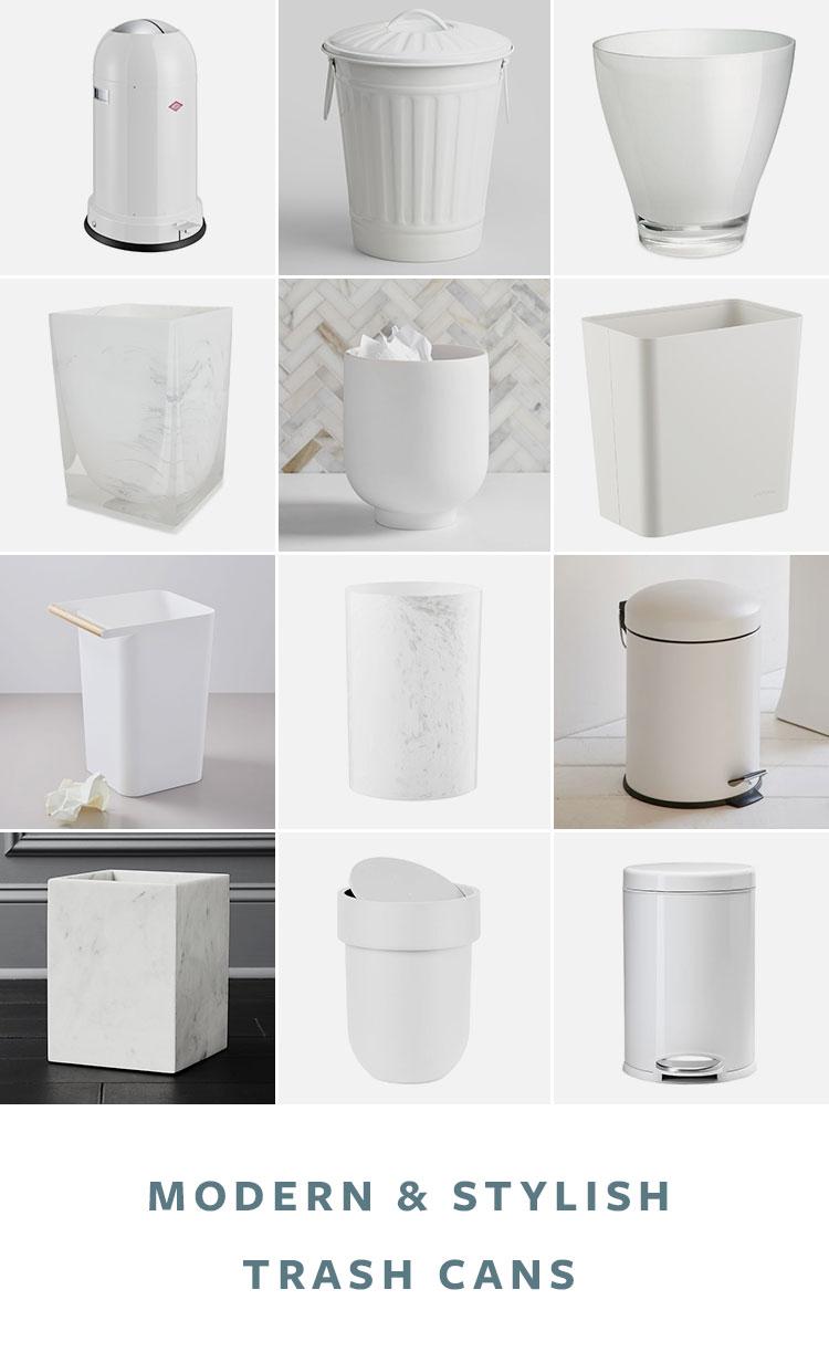 36 Stylish & Modern Trash Cans for Your Kitchen or Bathroom! Waste baskets, waste bins, trashcans, and attractive trash cans via jojotastic.com #roundup #homedecor #trashcans #wastebaskets