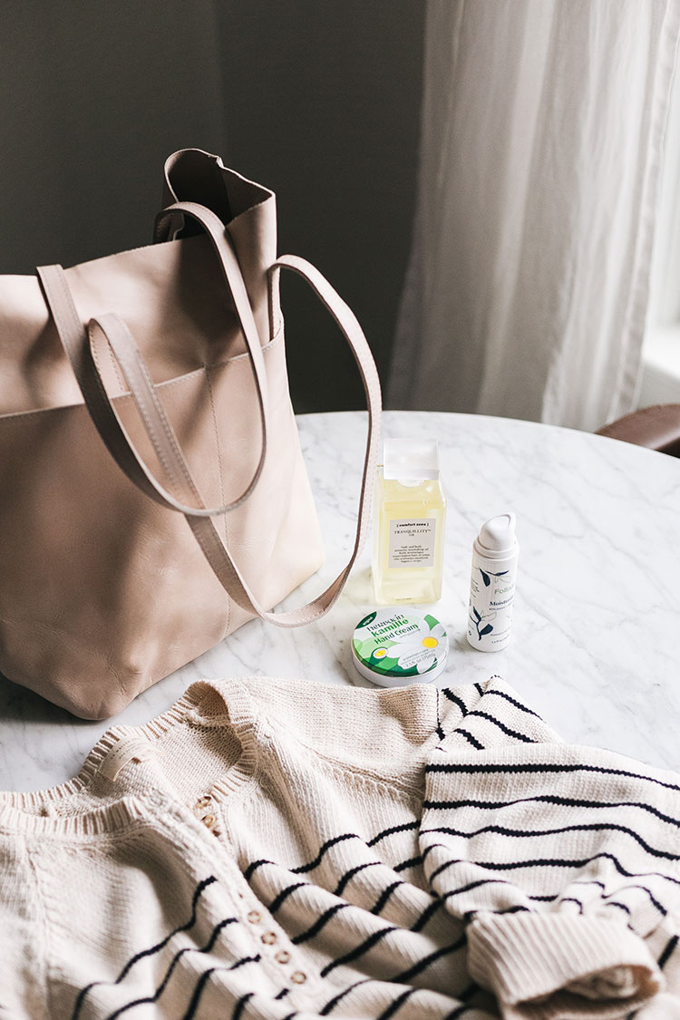 Joanna's Things of Note from February 2020. Including ABLE leather tote, Sézane organic cotton sweater, Follain moisturizer, the best glycerin hand cream, and bath and body oil from Comfort Zone. #thingsofnote #shopping #shoppingguide #musthaves #favoriteproducts