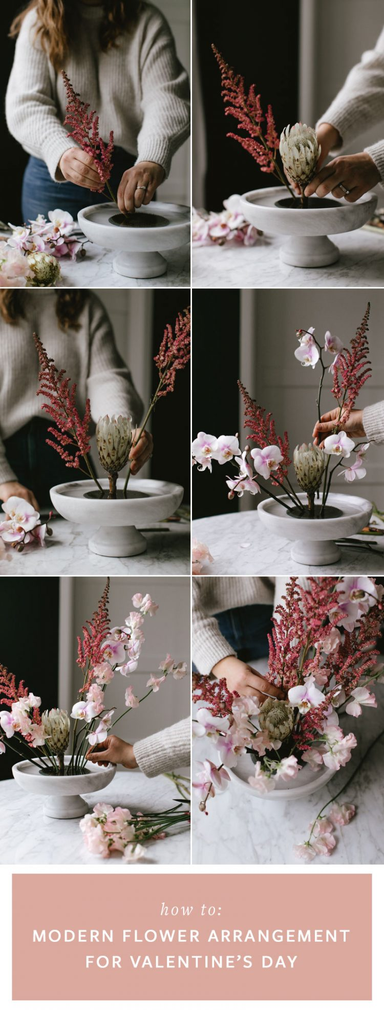 How to Make A Pastel Hued Modern Flower Arrangement for Valentine's Day! Create an ikebana inspired centerpiece with orchids, white protea, and sweet peas for a dramatic blush, pale pink, and lavender flower installation wrapped in ivory tulle. Step-by-step DIY tutorial on jojotastic.com #valentinesday #centerpiece #pinkflowers #modernflowerarrangement #modernflowers #diy