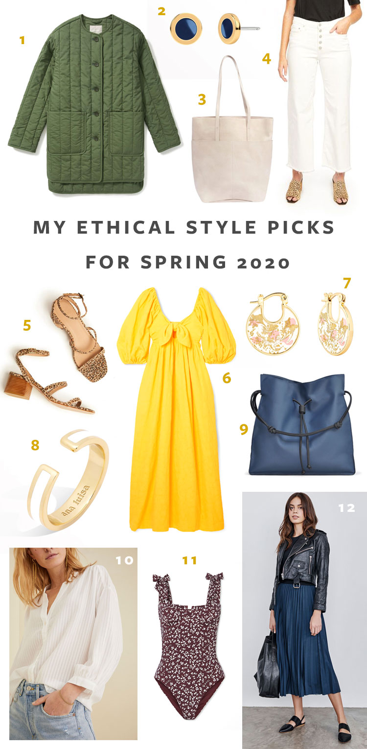 Get dressed in style this spring with these 12 ethical style pieces, including eco-friendly, sustainable and ethical clothing, accessories & shoes! Sustainably made clothing, ethical jewelry, shoes, and accessories, Spring 2020 fashion trends. #sustainability #sustainablestyle #ethicalfashion #ethicalbrands #ecoliving #sustainablelifestyle #ecofashion #ecostyle