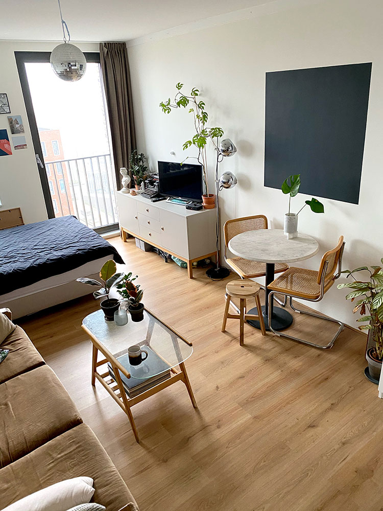 Small Space Squad Home Tour: Inside the Carefully Curated Amsterdam Studio Apartment of Karst Rauhé #smallspaces #tinyhouse #livesmall #smallspacesquad #hometour #housetour #minimalist #moderndecor #moderneclectic #studioapartment #studio #apartmenttour