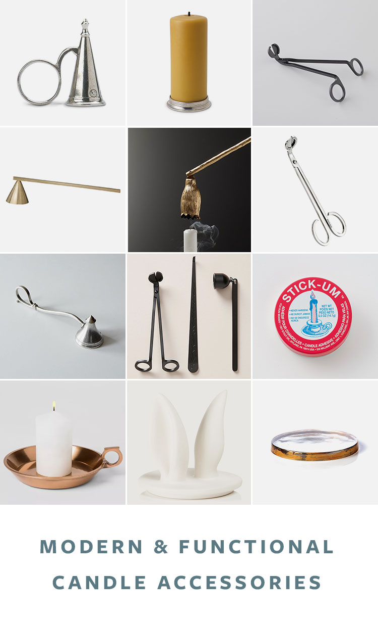 Chic Candle Accessories You Never Knew You Needed! Accessories like snuffers, wick trimmers, lighters, and more for candles.  #candles #scentedcandle #hygge #cozy #snuffer #wicktrimmer