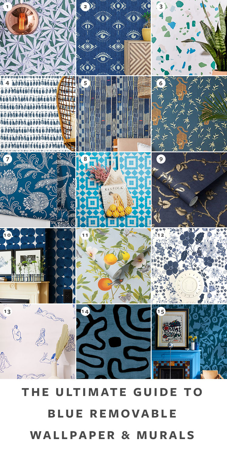 The Ultimate Guide to Shopping for Removable Wallpaper + The Best Patterns (Organized by Color!) on jojotastic.com Blue temporary wallpaper and peel and stick wallpaper review including Hygge & West, Chasing Paper, Graham & Brown, Urban Outfitters. Removable murals. #wallpaper #tempwallpaper #temporarywallpaper #removablewallpaper #peelandstickwallpaper
