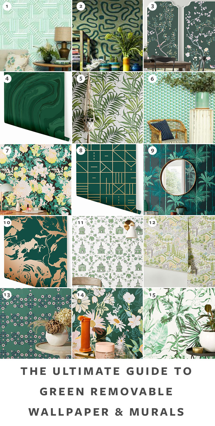 The Ultimate Guide to Shopping for Removable Wallpaper + The Best Patterns (Organized by Color!) on jojotastic.com Green temporary wallpaper and peel and stick wallpaper review including Hygge & West, Chasing Paper, Graham & Brown, Urban Outfitters. Removable murals. #wallpaper #tempwallpaper #temporarywallpaper #removablewallpaper #peelandstickwallpaper
