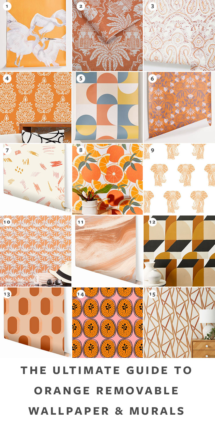 The Ultimate Guide to Shopping for Removable Wallpaper + The Best Patterns (Organized by Color!) on jojotastic.com Orange temporary wallpaper and peel and stick wallpaper review including Hygge & West, Chasing Paper, Graham & Brown, Urban Outfitters. Removable murals. #wallpaper #tempwallpaper #temporarywallpaper #removablewallpaper #peelandstickwallpaper