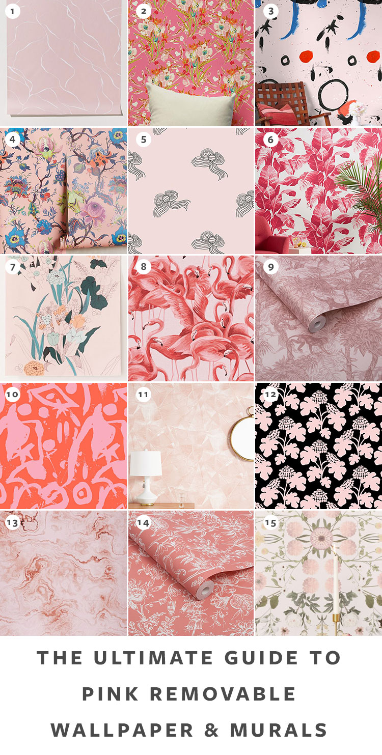 The Ultimate Guide to Shopping for Removable Wallpaper + The Best Patterns (Organized by Color!) on jojotastic.com Pink temporary wallpaper and peel and stick wallpaper review including Hygge & West, Chasing Paper, Graham & Brown, Urban Outfitters. Removable murals. #wallpaper #tempwallpaper #temporarywallpaper #removablewallpaper #peelandstickwallpaper