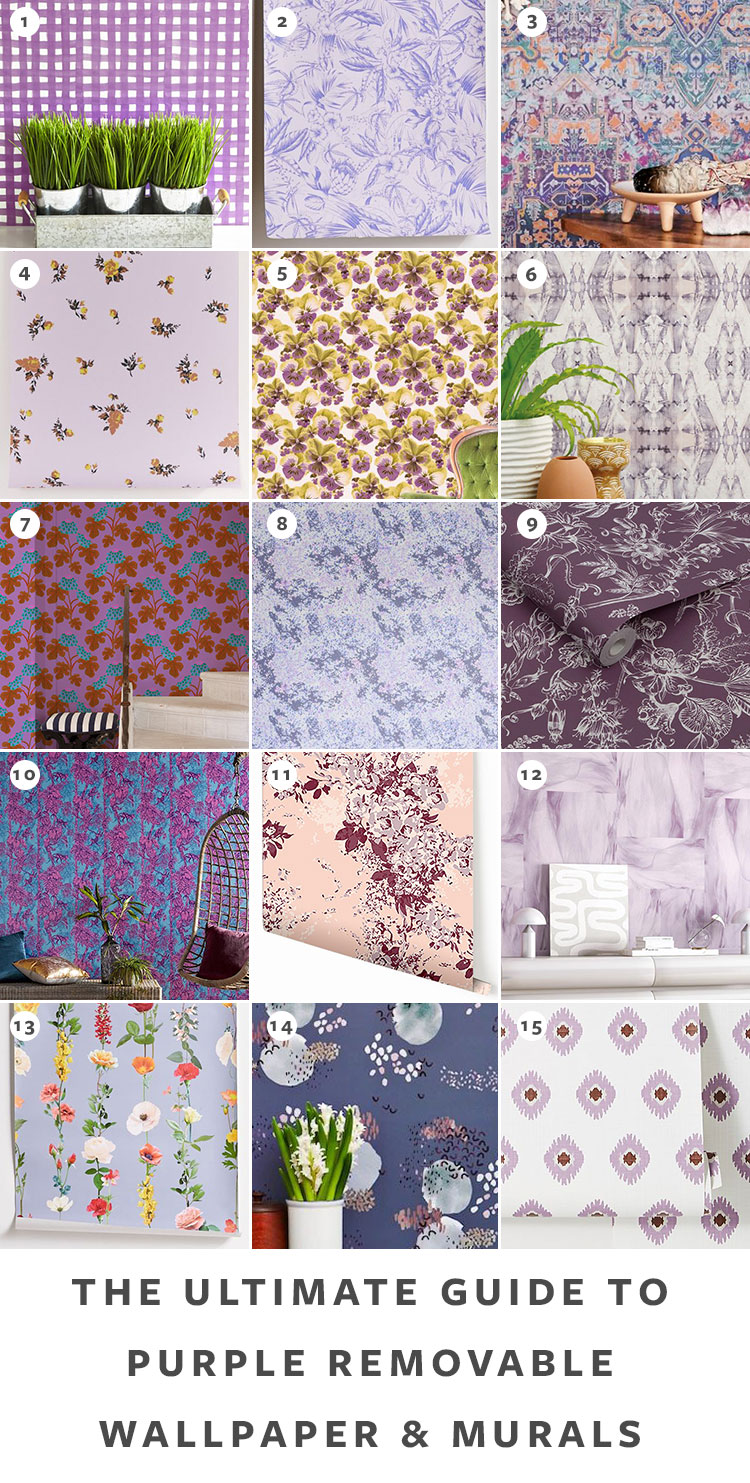 The Ultimate Guide to Shopping for Removable Wallpaper + The Best Patterns (Organized by Color!) on jojotastic.com Purple temporary wallpaper and peel and stick wallpaper review including Hygge & West, Chasing Paper, Graham & Brown, Urban Outfitters. Removable murals. #wallpaper #tempwallpaper #temporarywallpaper #removablewallpaper #peelandstickwallpaper