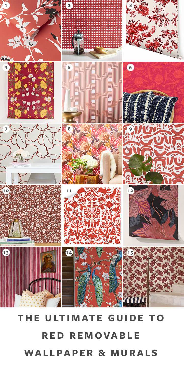 The Ultimate Guide to Shopping for Removable Wallpaper + The Best Patterns (Organized by Color!) on jojotastic.com Red temporary wallpaper and peel and stick wallpaper review including Hygge & West, Chasing Paper, Graham & Brown, Urban Outfitters. Removable murals. #wallpaper #tempwallpaper #temporarywallpaper #removablewallpaper #peelandstickwallpaper