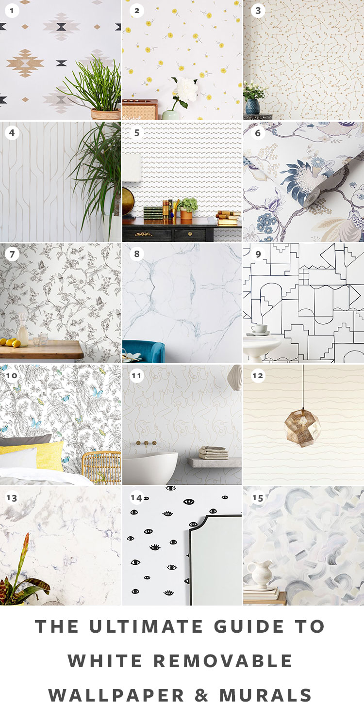 The Ultimate Guide to Shopping for Removable Wallpaper + The Best Patterns (Organized by Color!) on jojotastic.com White temporary wallpaper and peel and stick wallpaper review including Hygge & West, Chasing Paper, Graham & Brown, Urban Outfitters. Removable murals. #wallpaper #tempwallpaper #temporarywallpaper #removablewallpaper #peelandstickwallpaper