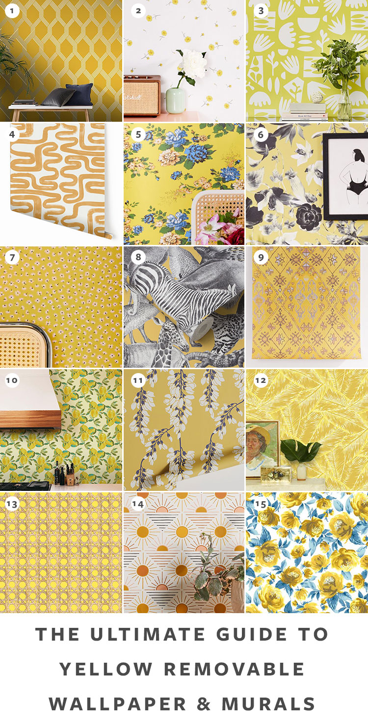 The Ultimate Guide to Shopping for Removable Wallpaper + The Best Patterns (Organized by Color!) on jojotastic.com Yellow temporary wallpaper and peel and stick wallpaper review including Hygge & West, Chasing Paper, Graham & Brown, Urban Outfitters. Removable murals. #wallpaper #tempwallpaper #temporarywallpaper #removablewallpaper #peelandstickwallpaper