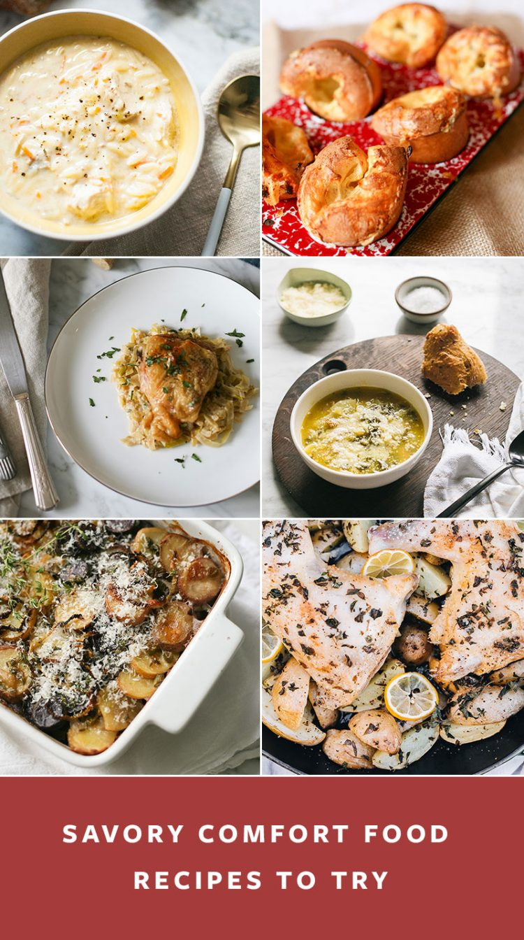 18+ comfort food recipes to cook at home during uncertain times. Savory recipes, side dishes, sweet baked goods, easy cocktails to make at home. #cocktailrecipes #savoryrecipe #sweets