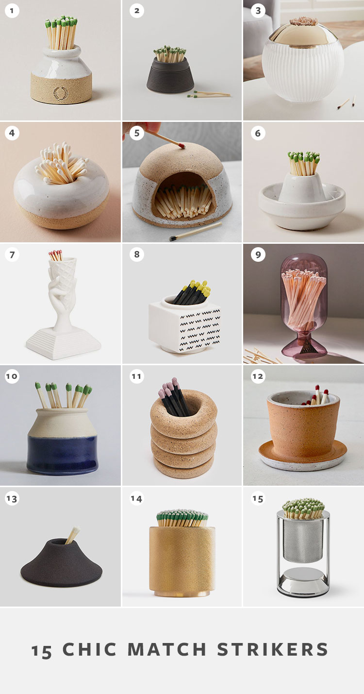 15 Chic Match Strikers to Light Your Fire! Ceramic, metal, and stone containers to hold matches and more for candles, perfect for adding stylish sophisticated home decor accessories to your coffee table #candles  #hygge #cozy #matches #matchstriker