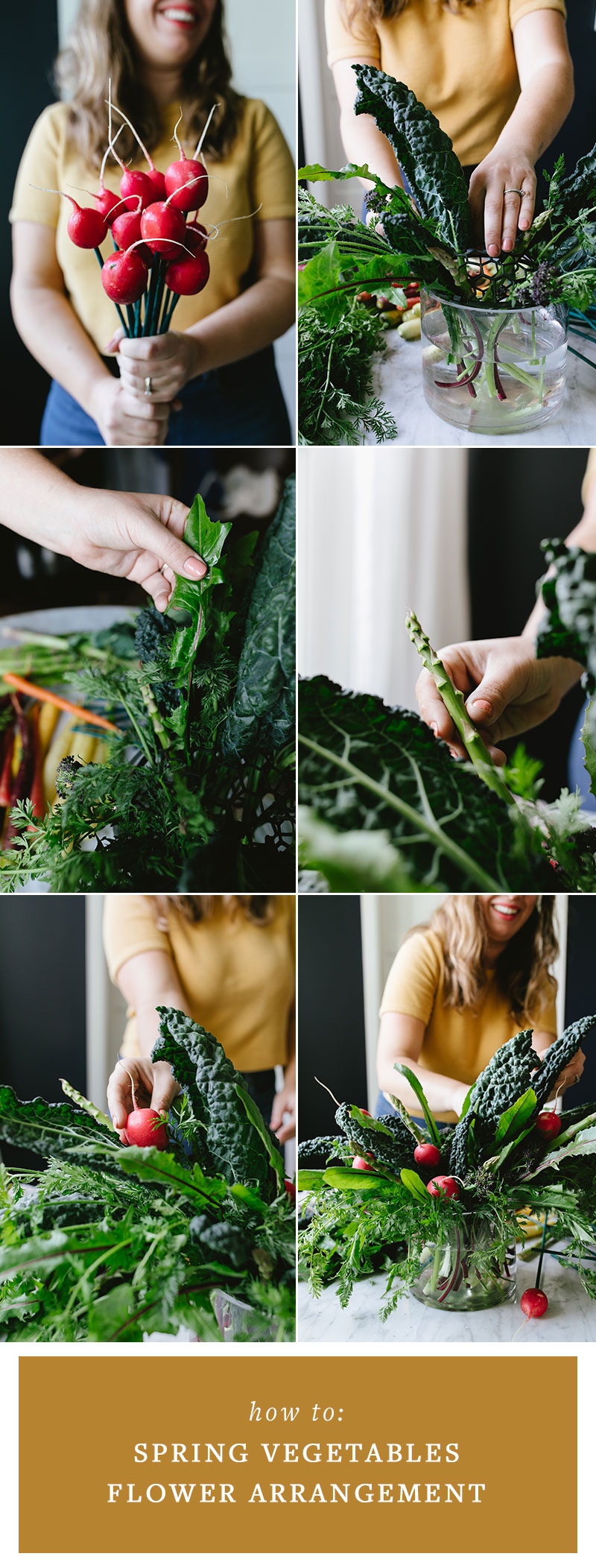 Learn how to make a textural, dramatic centerpiece with spring vegetables! This unexpected flower arrangement is a fun addition to any kitchen or Bloody Mary brunch. Perfect for Easter, Mother's Day, or a weekend brunch! #tablescape #spring #springtime #mothersday #easter #centerpiece #springvegetables #veggies #modernflowers