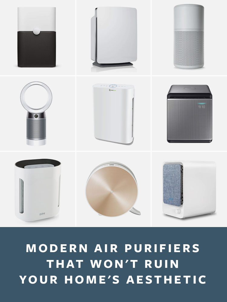 13 Modern Air Purifiers That Aren't Ugly! A round up of modern air cleaners with HEPA filters, activated carbon, and more to help with dander, allergies, smoke, and more.  #roundup #airpurifier #interiordesign #homedecor