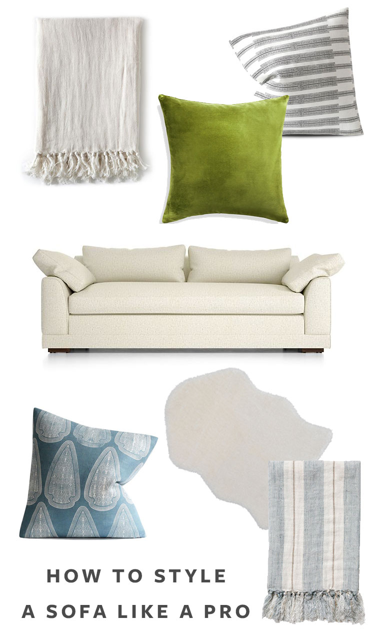 How to Style a Sofa Like a Pro! Tips and tricks from a prop stylist including how to mix prints, how to layer textures, ideas for refreshing a sofa, and more with decorative pillows, linen throws, and faux sheepskin rugs. #stylingtips #interiordesign #sofa