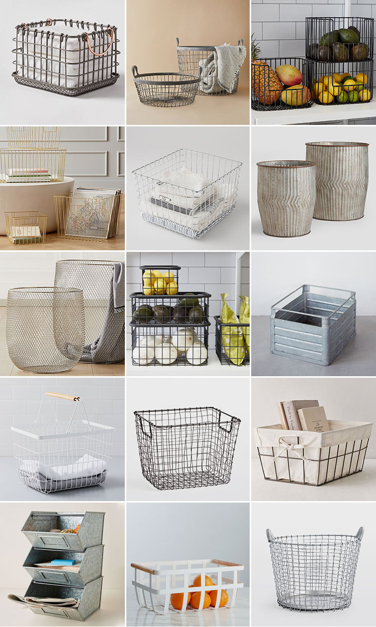 These Stylish Storage Baskets Will Help Keep Your Home Organized & Tidy! Round up of storage bins and baskets for small spaces, closets, and pantries. Metal baskets, wooden bins, raffia and natural materials and metal storage containers. Get the full round up of product links + my FAVE sources for storage tools on jojotastic.com #storage #storageideas #storagebasket #baskets #storagebin