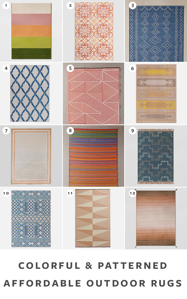 The Best Sources for Affordable Outdoor Rugs (under $200!) for your deck, patio, or balcony. Plus, tips on how to shop for an outdoor rug. #outdoorrug #outdoordecor