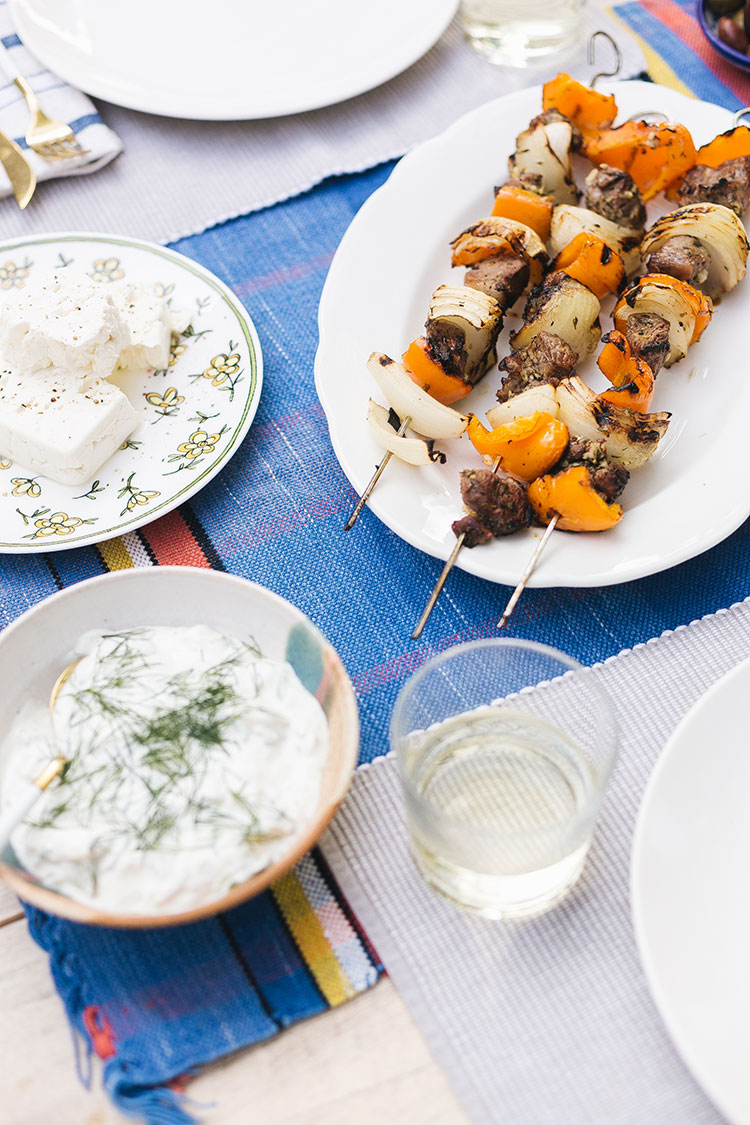 My Easy Lamb Souvlaki Recipe — From My Yia Yia's Recipe Collection! Greek food recipe, works well with beef or chicken, too. Ingredients include American lamb, bell peppers, grilled onions, and tzatziki #greekfood #souvlaki #kabobs