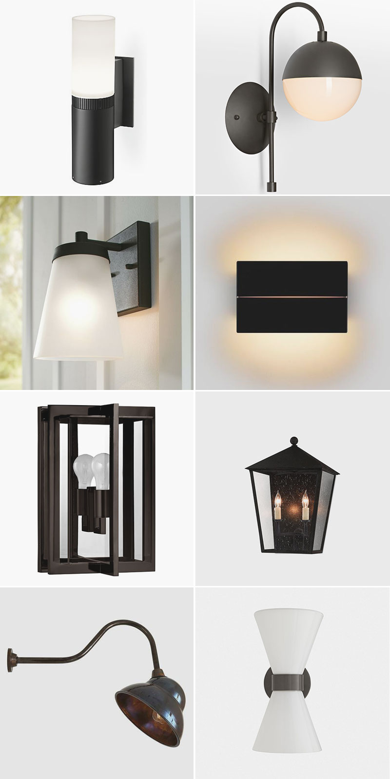 Illuminate Your Patio With These Chic Black Outdoor Sconces! 24 sources for outdoor lighting for the deck, patio, front porch, or back door!