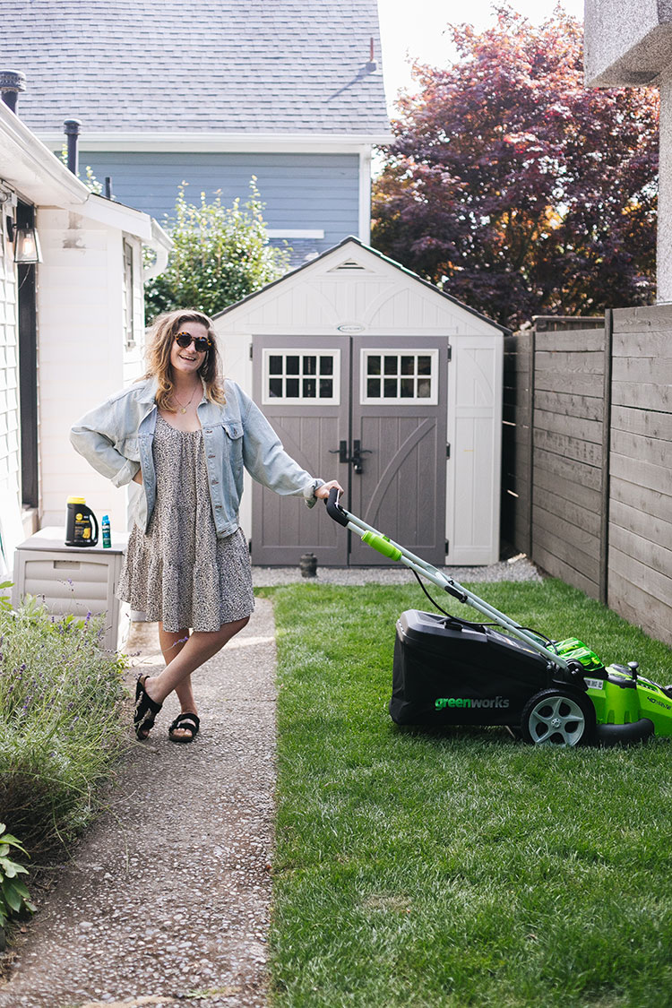 4 Easy Lawn Care Tips including my favorite gardening tools from @AmazonHome #AD Check out my favorite cordless battery powered lawn mower, organic all-purpose plant food, and dry bug repellant spray #getmorewithprime #founditonamazon
