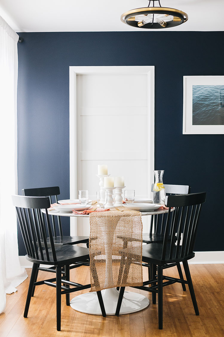 Before and After: My Dining Room 10 Year Challenge #sponsored by Better Homes & Gardens at Walmart @bhglivebetter @walmart Check out the new additions to my small dining room including farmhouse dining chairs, modern brushstroke dinner plates, matte gold flatware, and more! #BHGlivebetter #walmart #betterhomesandgardens