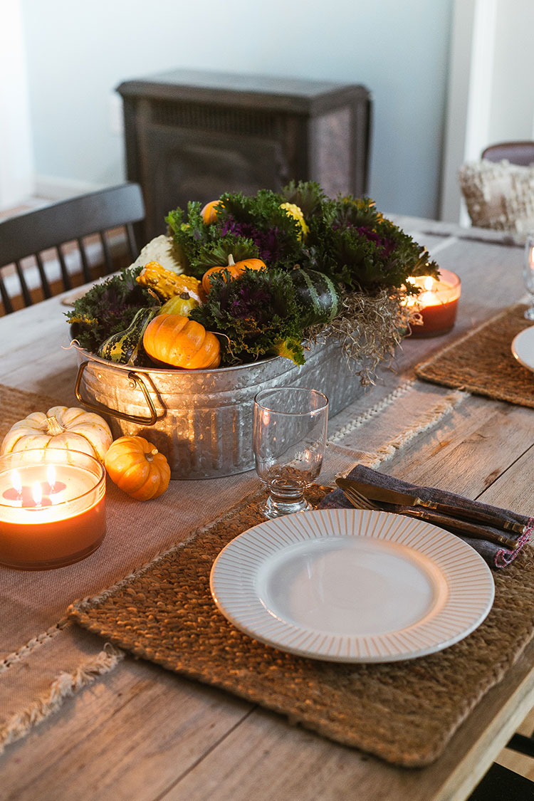 Learn how to make this easy and affordable fall centerpiece DIY with potted kale plants, mini pumpkins, and colorful mini gourds + get tips on setting a perfectly autumnal table to match — with gorgeous decor from @bhglivebetter exclusively @walmart ! #BHGlivebetter #walmart #betterhomesandgardens #AD #falldecor #fallcenterpiece #fallDIY