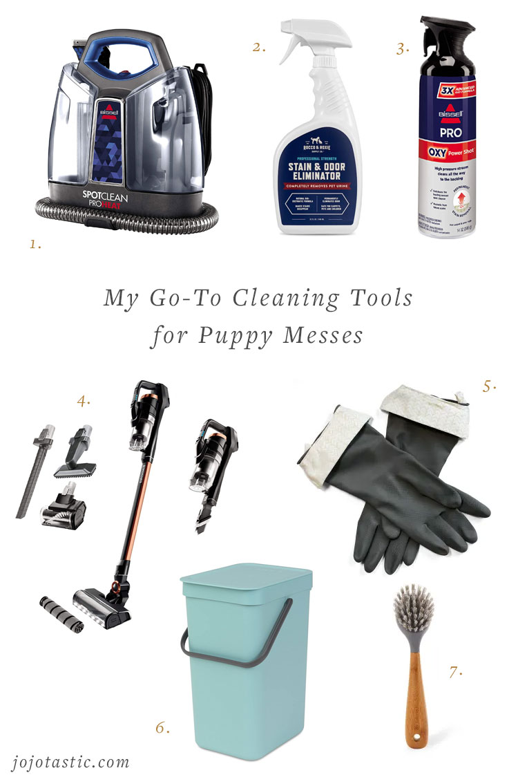 Cleaning tools I swear by to clean up puppy messes! My favorite vacuum recommendation, steam cleaner, pet stain removers, and more.