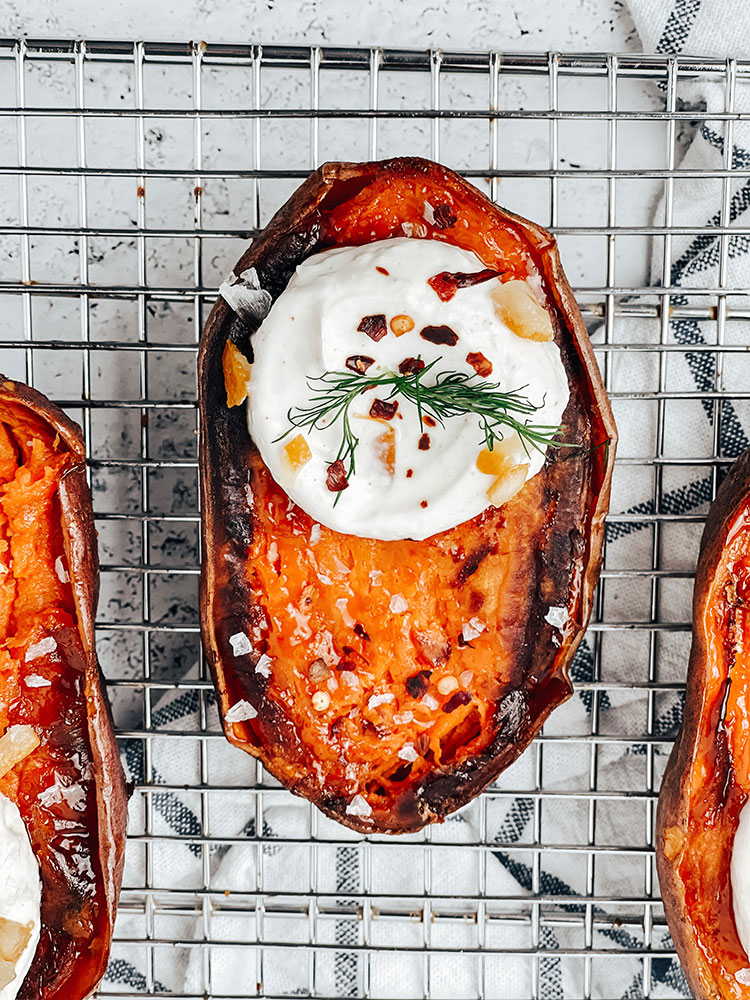 Baked Sweet Potatoes with Preserved Lemon Sauce, easy vegetarian recipe and quick lunch idea perfect for working from home
