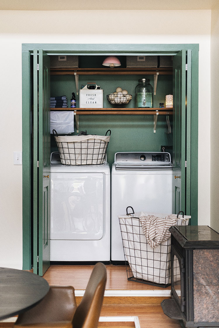 Before and after makeover reveal: small laundry closet refresh on a budget with @bhglivebetter @walmart with storage tips, cleaning supply storage, stylish laundry baskets and more. Shop the post & learn more on jojotastic.com #BHGlivebetter #walmart #betterhomesandgardens #AD