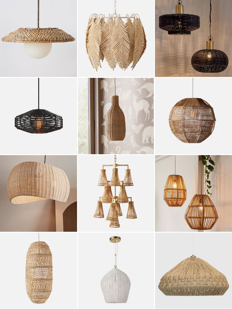 Add Drama to Your Home with Woven and Rattan Lighting including pendants, chandeliers, table lamps, flushmounts, ceiling lights, sconces, wall lights and floor lamps
