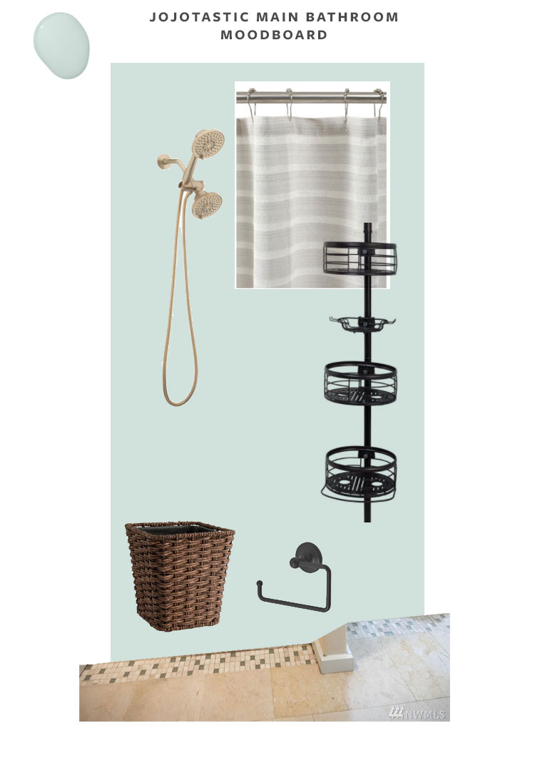 Moodboard of our cabin bathroom makeover and main bedroom suite renovation in our PNW cabin, paint is Headspace by Clare Paint. Brass shower head, striped shower curtain, rattan trash can