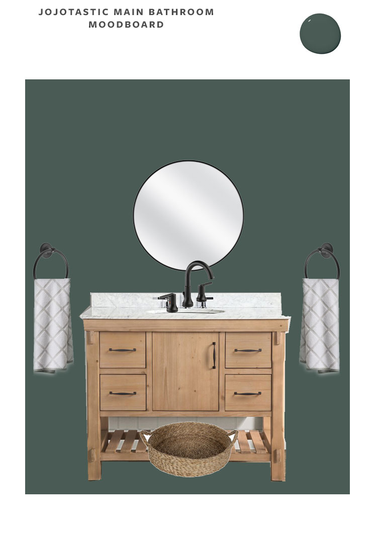 Moodboard of our cabin bathroom makeover and main bedroom suite renovation in our PNW cabin, paint is Current Mood by Clare Paint. Wooden vanity with black round mirror