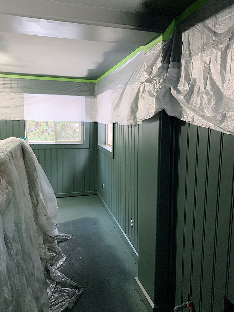 Cabin bedroom makeover and main bedroom suite renovation in our PNW cabin, paint is Current Mood by Clare Paint